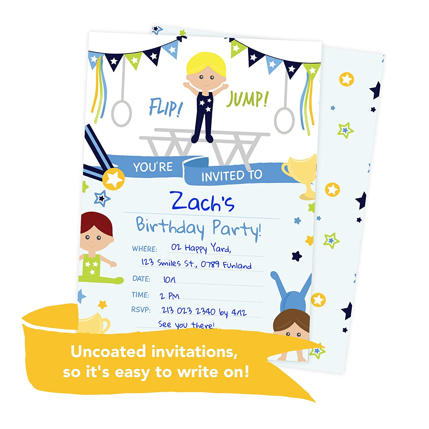 Amazon Gymnastics Boy Style 2 Happy Birthday Invitations Invite Cards 25 Count With Envelopes Seal Stickers Vinyl Kids Party Health Personal