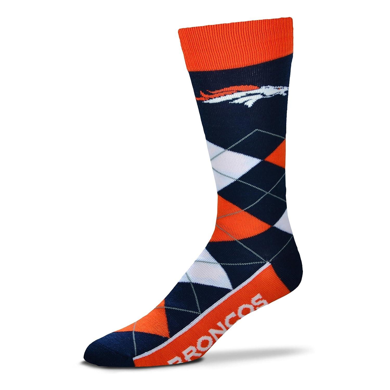 For Bare Feet NFL Denver Broncos 505-7 Argyle Crew Socks - Large Fore Bare Feet 505-9