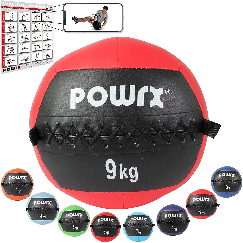 POWRX Wall ball Balón medicinal 9 kg - Ideal para ejercicios de ...