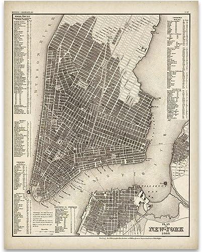 Amazon.com: 1844 New York City Map Art Print - 11x14 Unframed Art ...