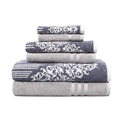 Linum Home Textiles Gioia-Denzi Bath Towel (6 Piece) Ocean Blue/Grey