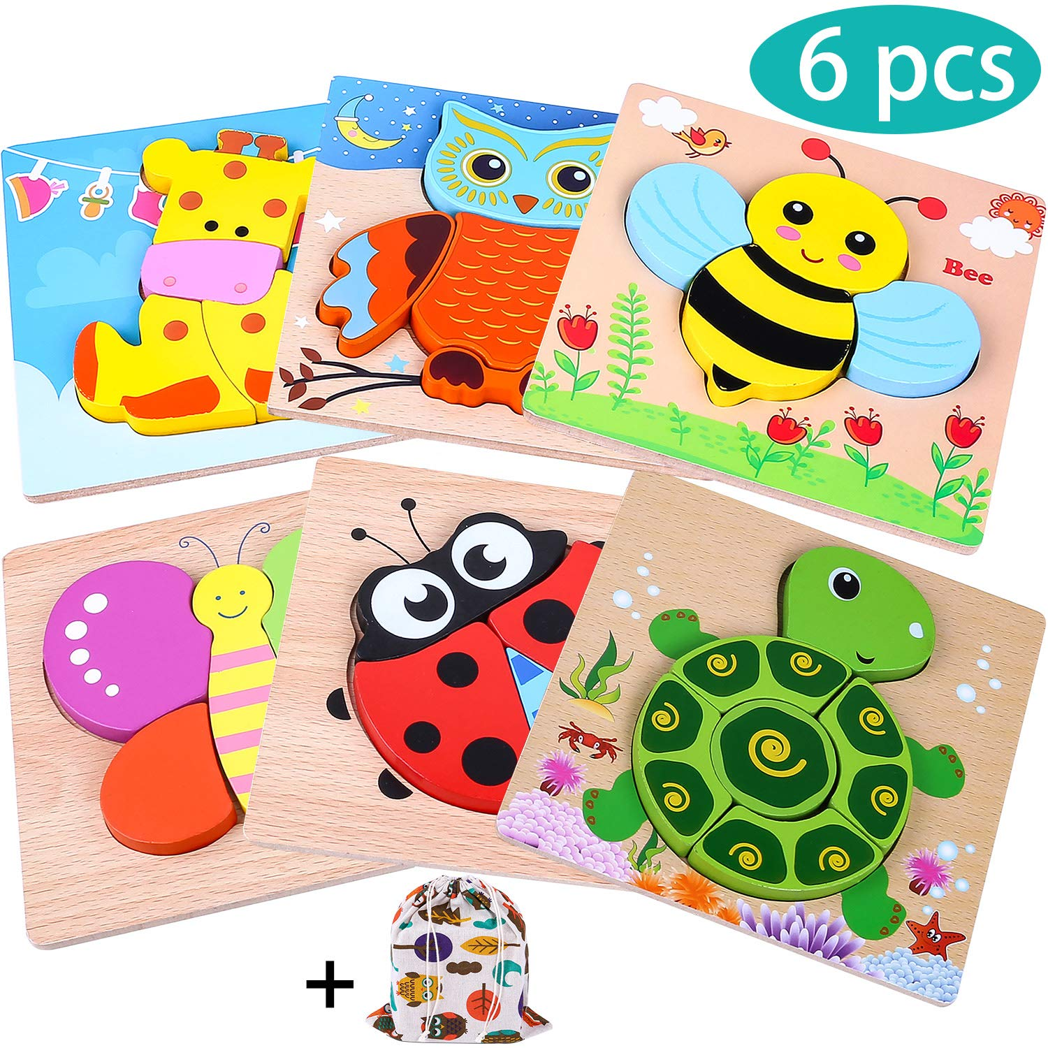 INNOCHEER Wooden Animal Jigsaw Puzzles for Toddlers 1 2 3 4 Years Old, Educational Toys Gift with 6 Pcs Chunky Bright Vibrant Color Shapes Lovely Animal, Extra Drawstring Bag for Easy Storage by INNOCHEER