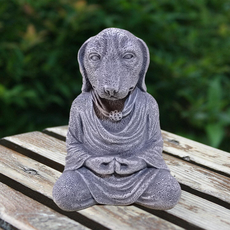 Wsmart Meditation Dog Figurines Shelf Living Room Bedroom Decor Buddha Yoga Pose Statue