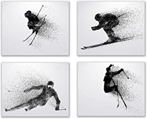 Skiing Wall Art Prints - Silhouette – Set of 4 (8x10) Ski Poster Photos - Bedroom - Man Cave