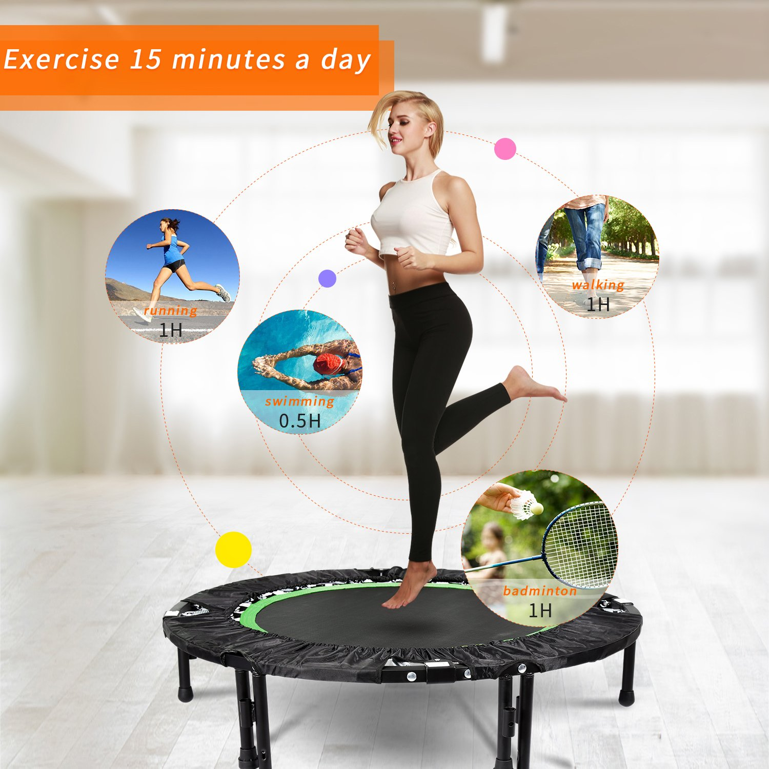 ANCHEER Foldable 40'' Mini Trampoline Rebounder, Max Load 300lbs Rebounder Trampoline Exercise Fitness Trampoline for Indoor/Garden/Workout Cardio by ANCHEER (Image #1)