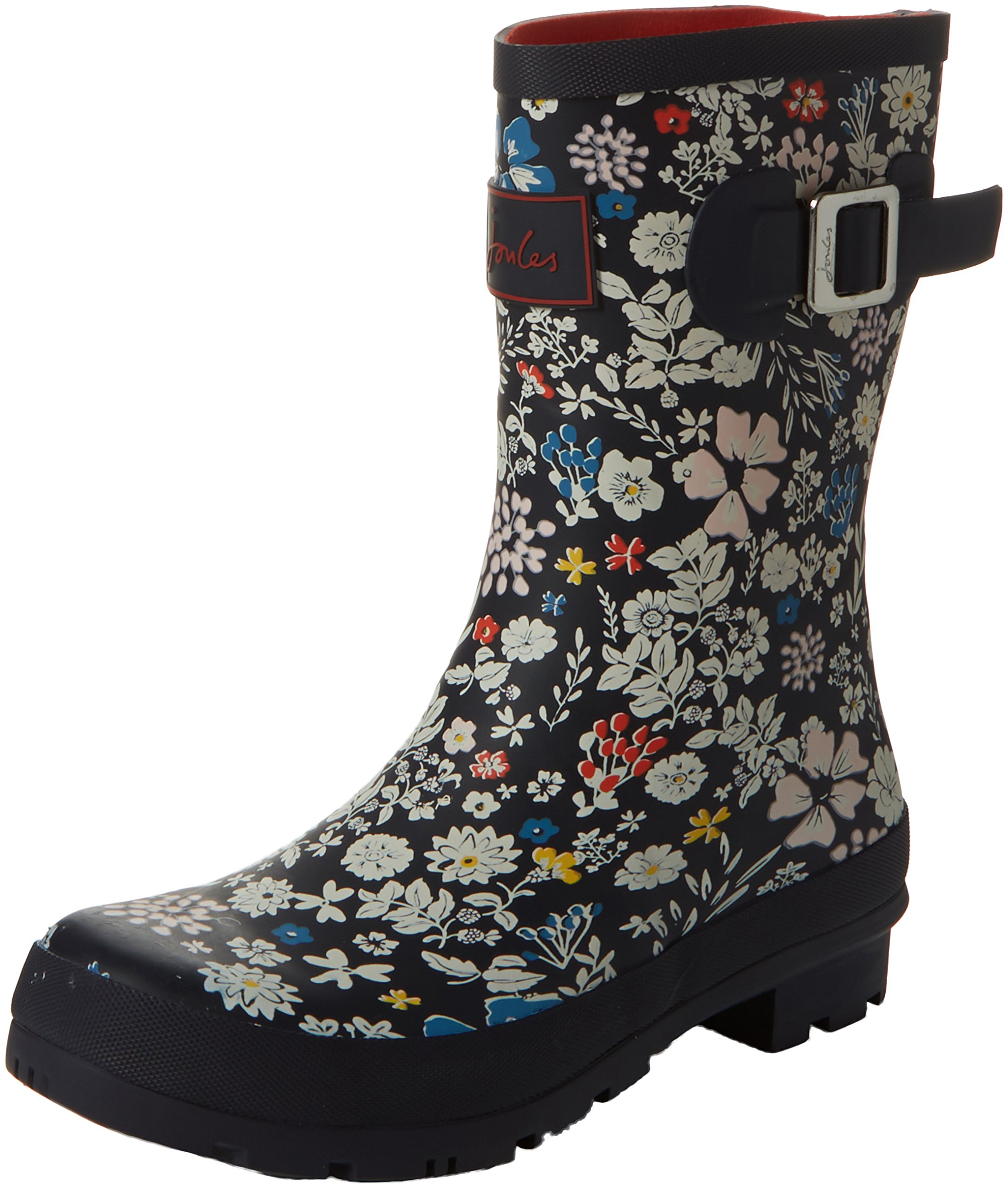 Joules Women's Molly Welly Rain Boot French Navy Ria Ditsy 5 M US