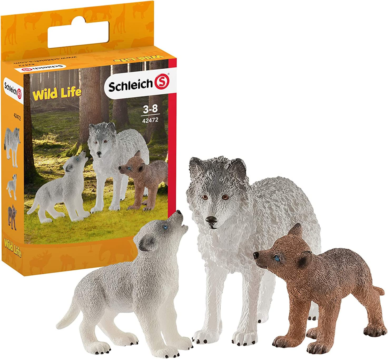 Schleich Wild Life Mother Wolf with Pups 3-Piece Educational Playset for Kids Ages 3-8