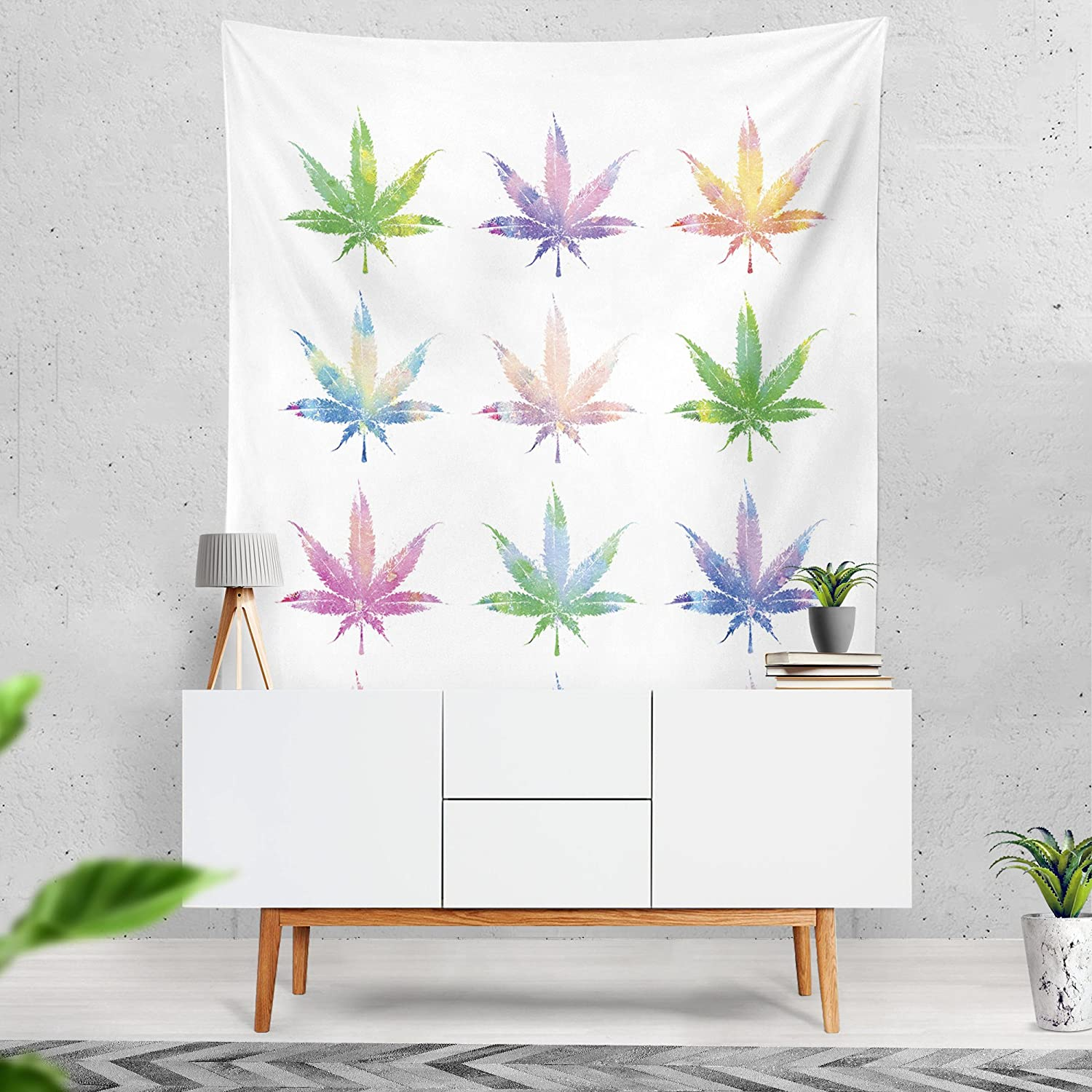 Lume.ly - Sweet Colorado Marijuana Weed Cannabis Pot Leaf Plant Wall Art Tapestry for Bedroom, Unique Luxury Designer Vibrant Home Decor (White Multi Color) (60x80, White)
