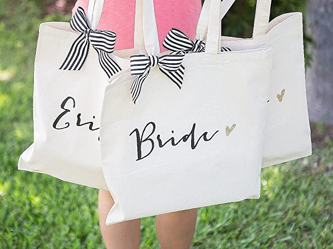 5694634319658f Bridal Party Wedding Tote Bags, Bags for Bride and Bridesmaids, Black with  Gold Glitter and Striped Ribbon, Canvas Cotton Wedding Bags, Designer  Inspired