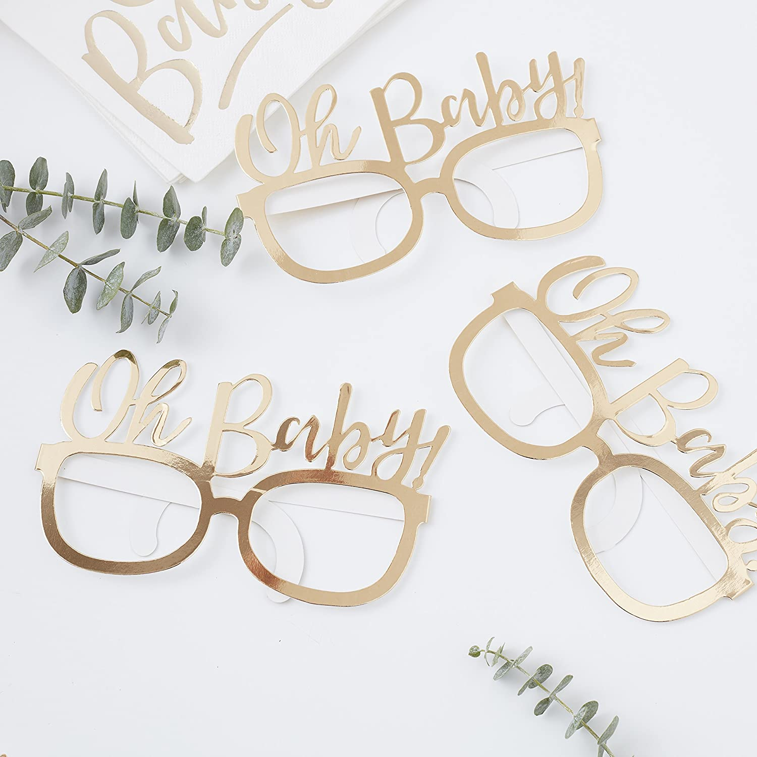 Ginger Ray Gold Foiled Oh Baby! Baby Shower Party Funglasses Party - 8 Pack - Oh Baby!
