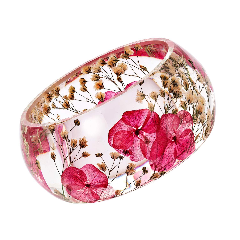 IDesign DIY Handmade Nature Dry Pressed Flower Resin Bracelet Bangle (Pink)