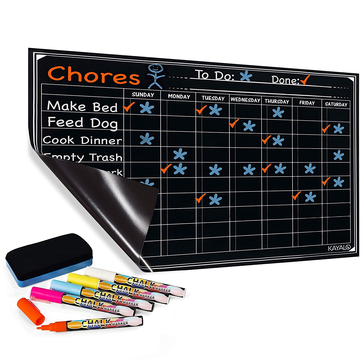 "Chore Chart with 5 Chalk Markers for Multiple Kids - Magnetic Dry Erase Refrigerator Calendar Chalkboard for Activity and Reward - Reusable Home Family Star Board for Responsibility - 17"" x 12"""