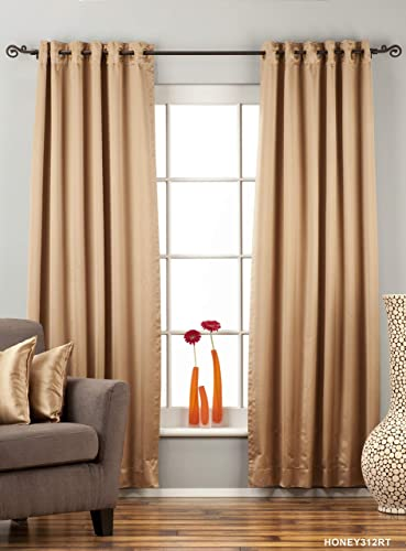Indian Selections Lined-Taupe Ring Grommet Top 90 Blackout Curtain Drape -60W x 120L-Piece