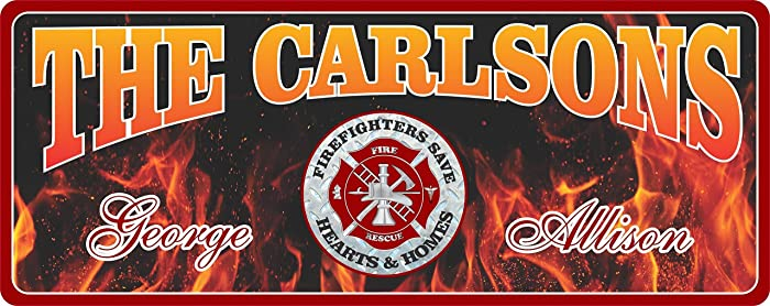 Amazon com: Personalized Firefighter Sign with Your Custom
