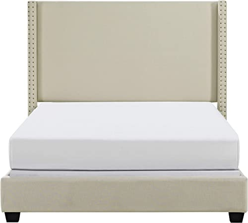 Crosley Furniture Casey Upholstered Platform Bed and Wingback Headboard