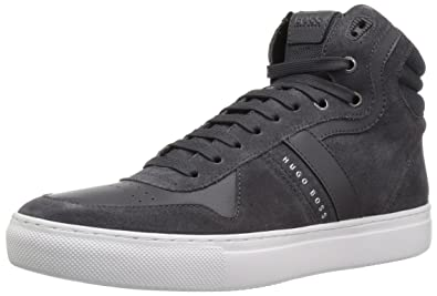 663bf6ff0a Hugo Boss BOSS Green Men's Enlight Suede High Top Sneaker, Dark Grey, 8 M