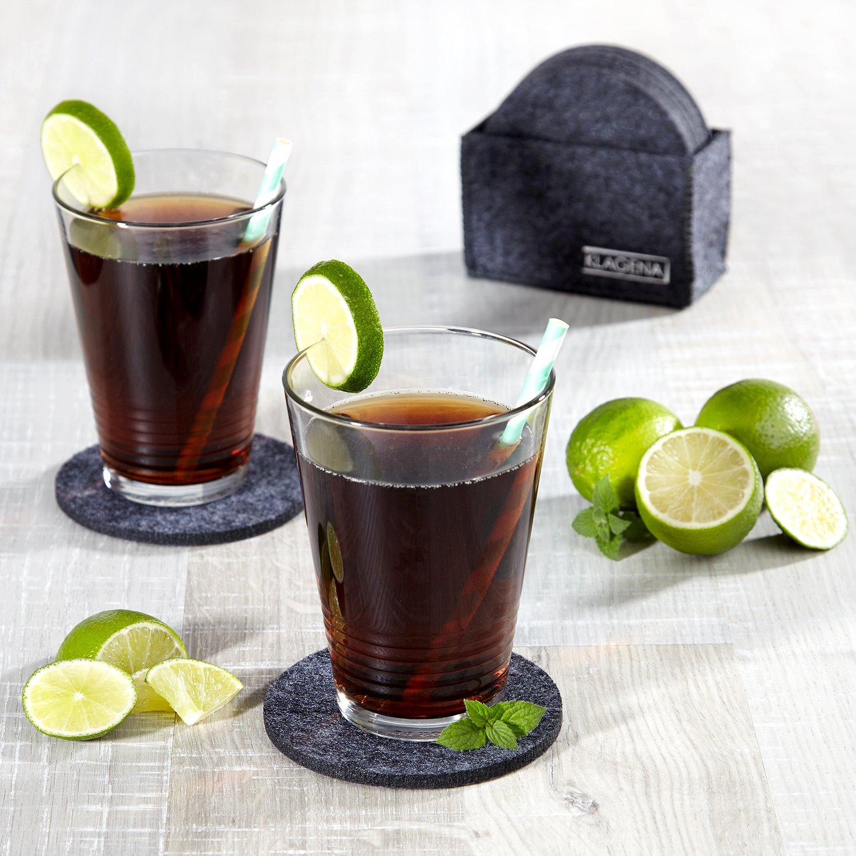 Astuccio Incluso bibite e Bevande KLAGENA Set 8 sottobicchieri in Feltro Rotondi Ideali per Bicchieri