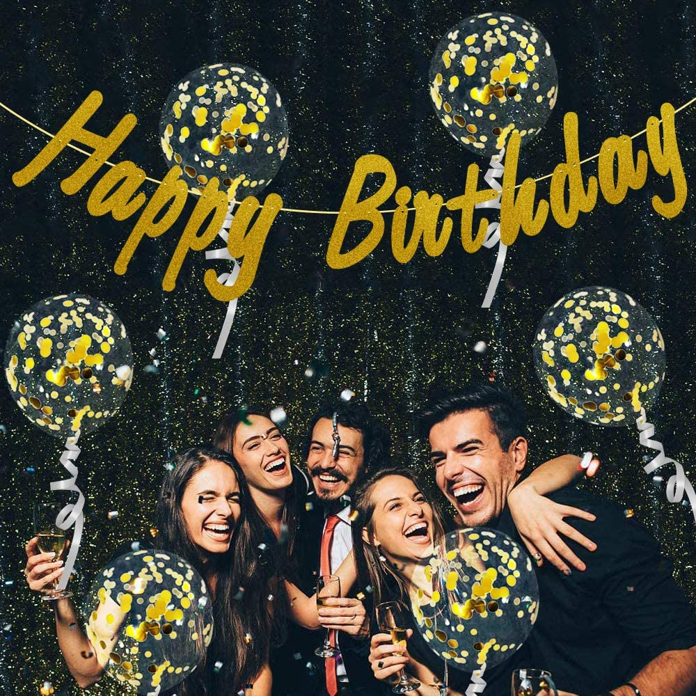 Runide Glitter Gold Happy Birthday Banner Latex Confetti Balloons with Shiny Sequin and Circle Dots Garland,Golden Birthday Party Decorations Supplies for Men and Women