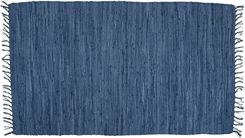 Bristol Blue Hand Woven Rag Throw Rug