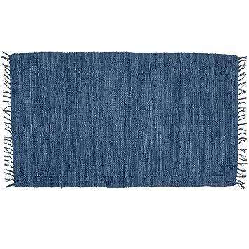 Bristol Blue Hand Woven Rag Rug, 2 X 3, 100% Cotton