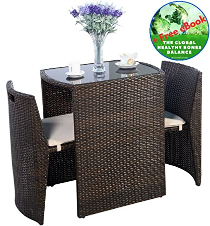 Superieur Outdoor Furniture   Patio Wicker Dining Table And Chairs With Cushions Set  3 Piece   All