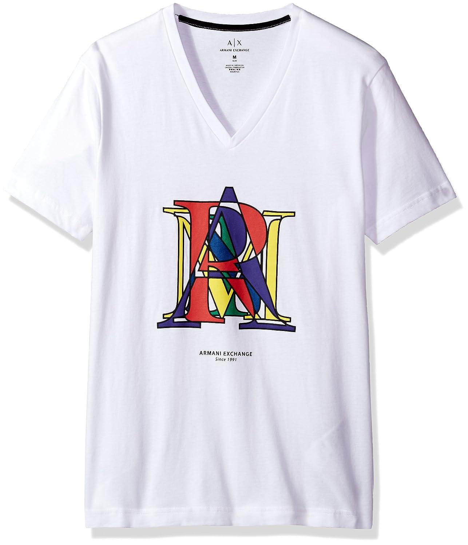 3197436b A X Armani Exchange Mens 6YZTNGZJD3Z Ss V-Neck Combined Letter Logo T-Shirt  Short Sleeve T-Shirt - White - Medium: Amazon.com.au: Fashion