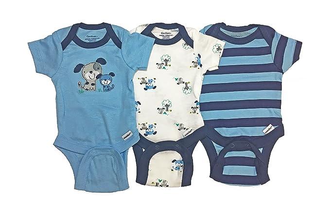 a2155606cfff Amazon.com  Gerber Baby Boy Onesies Bodysuits 3-Pack Blue Dogs ...