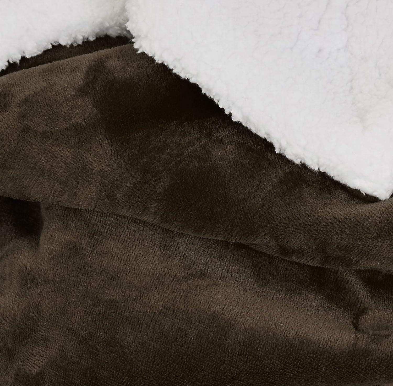 Basics Plaid double-face en sherpa et microvison 130 x 170 cm Bleu fum/ée