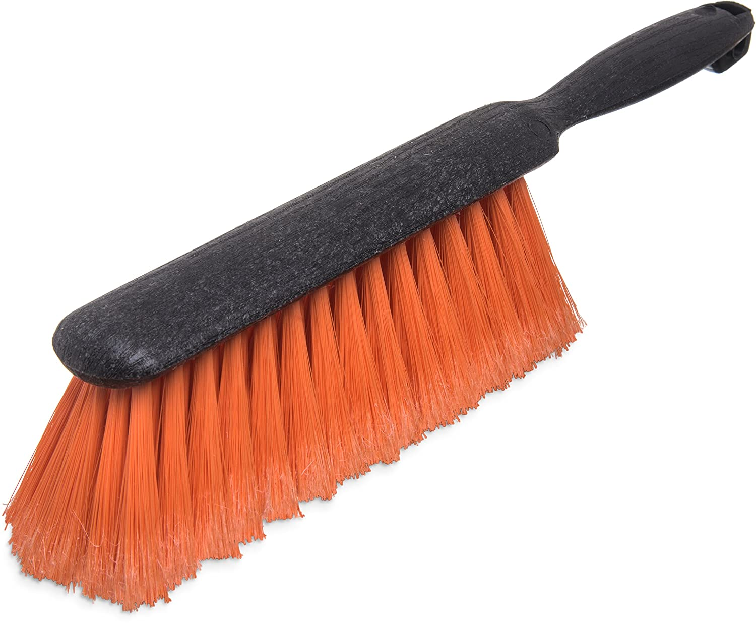 Carlisle 3621124 Flo Pac Counter Bench Brush Black Plastic Block and Handle 2 1 2 Long Orange Flagged Polypropylene Bristles 8 Brush Length 13 Overall Length Case of 12