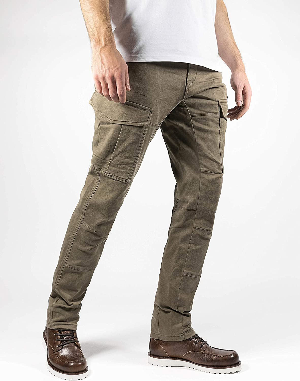 John Doe Stroker Cargo XTM Motorcycle Trousers with Kevlar XTM Made with Dupont Kevlar Can be Inserted Protectors Breathable Motorcycle Cargo Trousers with Side Pockets Beige 34 W//34 L