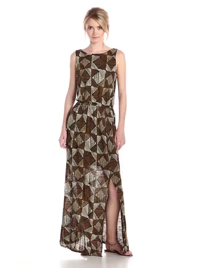 Amazon.com: Lucky Brand Women's Batik Dot Diamonds Maxi Dress ...