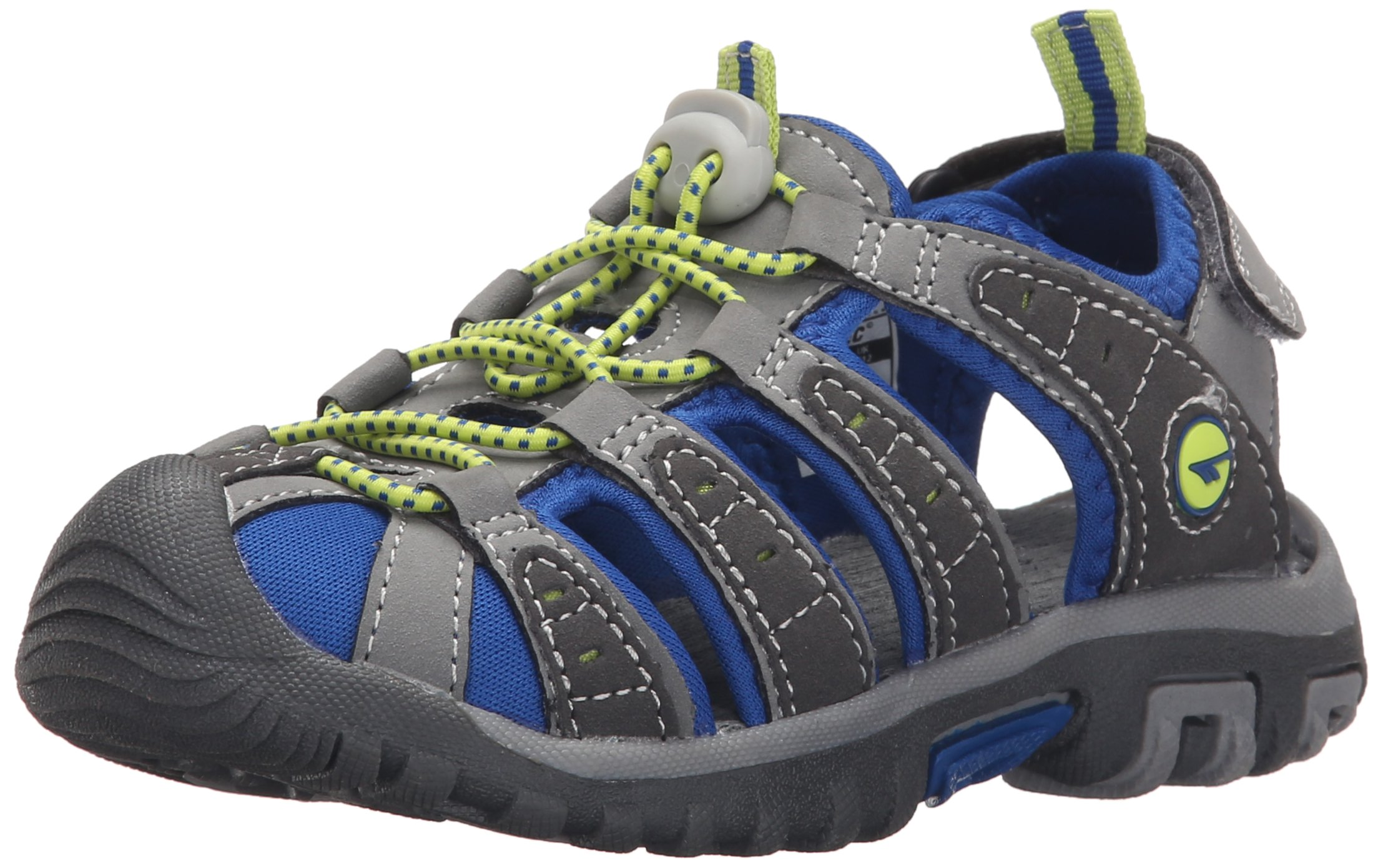 Hi-Tec Shore JR Water Shoe (Little Kid/Big Kid), Grey/Cobalt/Limoncello, 4 M US Big Kid