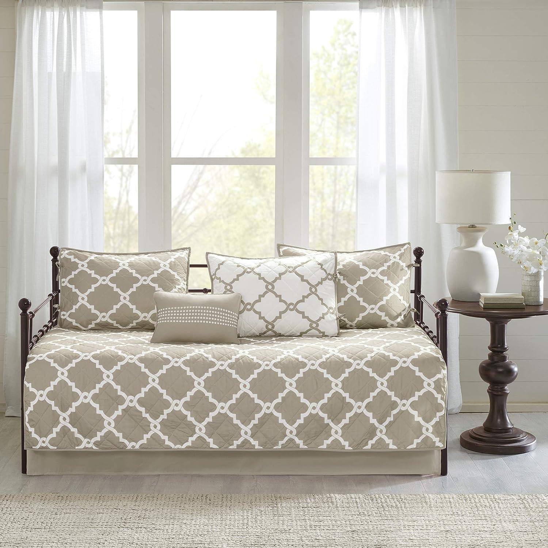 "Madison Park Essentials Merritt All Season Cozy Bedding with Bedskirt, Matching Shams, Decorative Pillow, 75""x39"", Taupe 6 Piece"