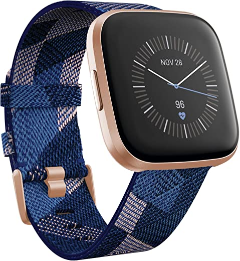 Fitbit Versa 2 Special Edition Health and Fitness Smart Watch with Heart Rate, Music, Alexa Built-In, Sleep and Swim Tracking, Navy and Pink Woven/Copper Rose, One Size (S and L Bands Included), 2.3