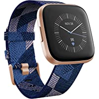 Fitbit Versa 2 Special Edition Health & Fitness Smartwatch with Heart Rate, Music, Alexa Built-in, Sleep & Swim Tracking, Navy & Pink Woven/Copper Rose, One Size (S & L Bands Included)