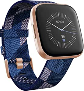 Fitbit Versa 2 Special Edition Health & Fitness Smartwatch with Heart Rate, Music, Alexa Built-in, Sleep & Swim Tracking, Navy & Pink Woven/Copper ...
