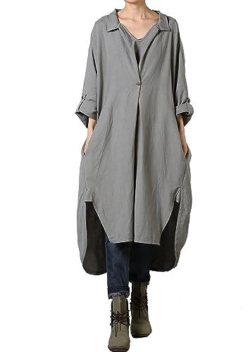 Vogstyle Vestido asimétrico de lino de algodón de talla grande de las mujeres