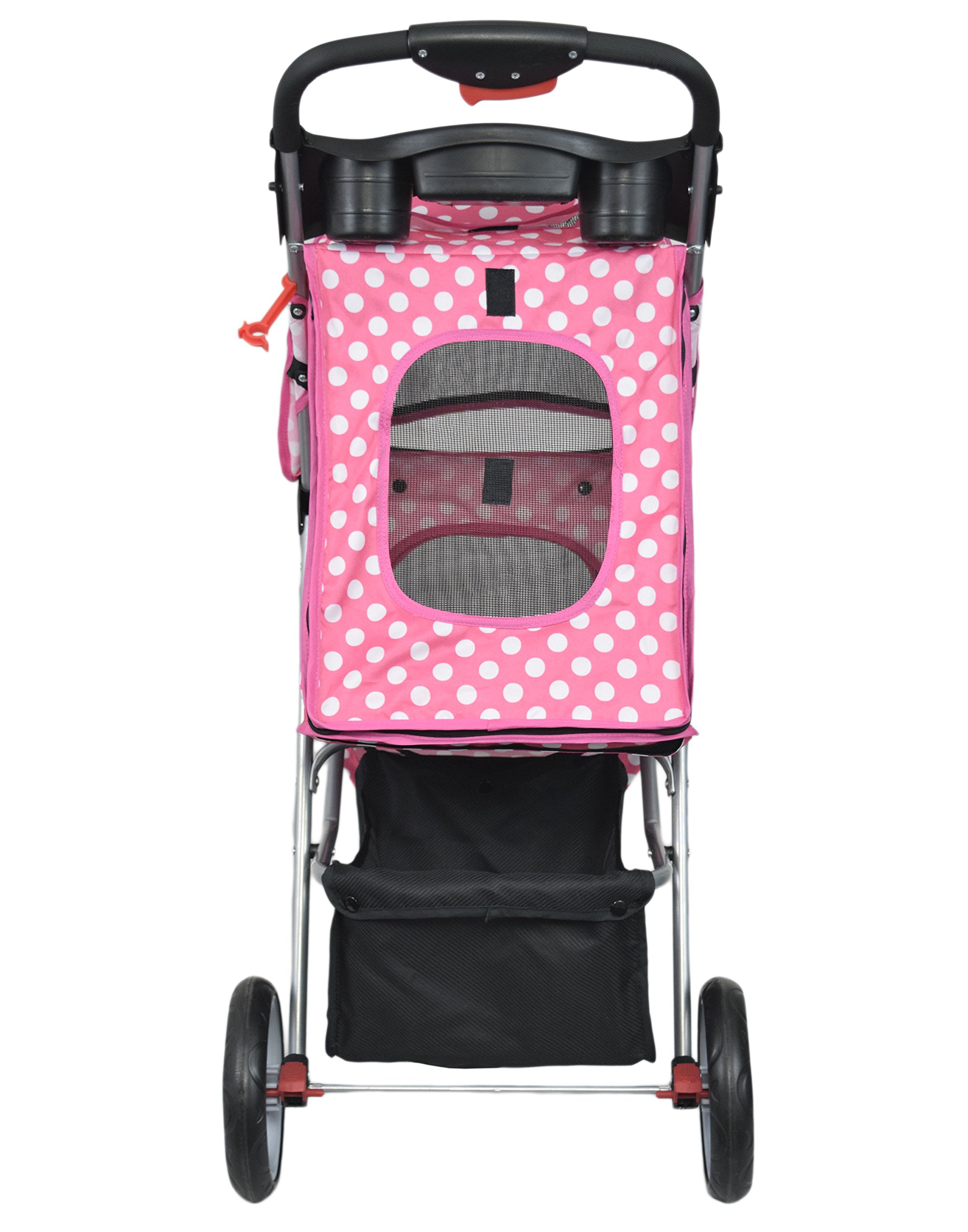 VIVO Three Wheel Pet Stroller, for Cat, Dog and More, Foldable Carrier Strolling Cart, Multiple Colors (Pink & White Polka Dot) by VIVO (Image #6)