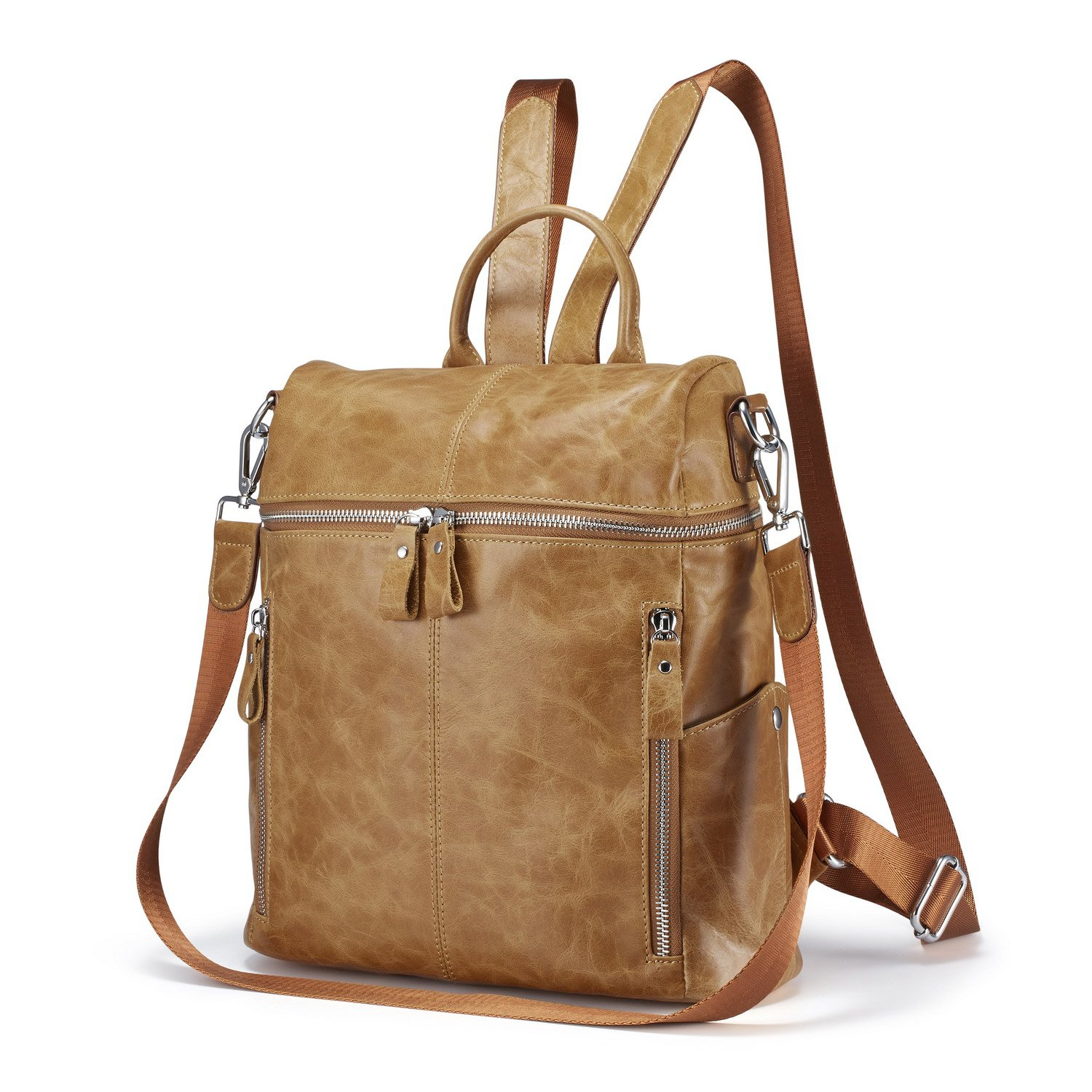 Lecxci Women Large Multi-pocket Lightweight Genuine Leather Backpack Shoulder Bag Ladies Fashion Schoolbag Travel Bag Casual Daypack(Wax Leather,Brown) by Lecxci (Image #1)