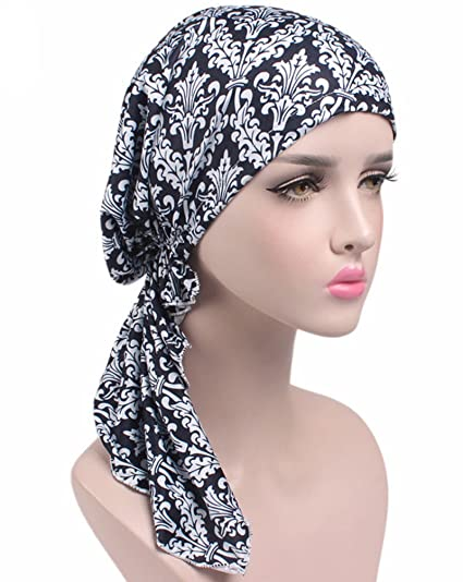 Wcysin Pre Tied Bandana Turban Chemo Head Scarf Sleep Turban Headwear (02-Black)