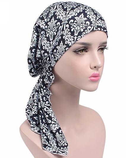 1fdb20e815a Amazon.com  Wcysin Pre Tied Bandana Turban Chemo Head Scarf Sleep ...