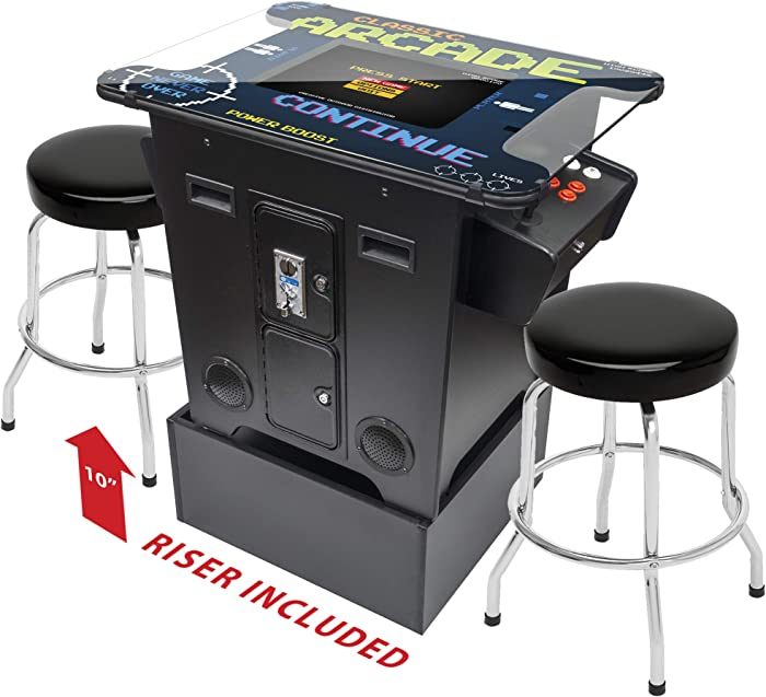 Creative Arcades Full-Size Commercial Grade Cocktail Arcade Machine | Trackball | 412 Classic Games | 2 Sanwa Joysticks | 2 Stools Included | Arcade Riser Included | 3 Year Warranty | Square Glass Top
