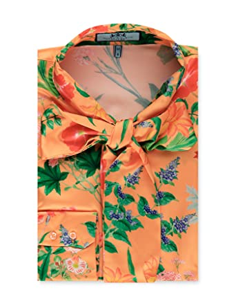 955f439cb71281 HAWES   CURTIS Womens Orange   Green Floral Fitted Satin Blouse - Pussy Bow  Orange
