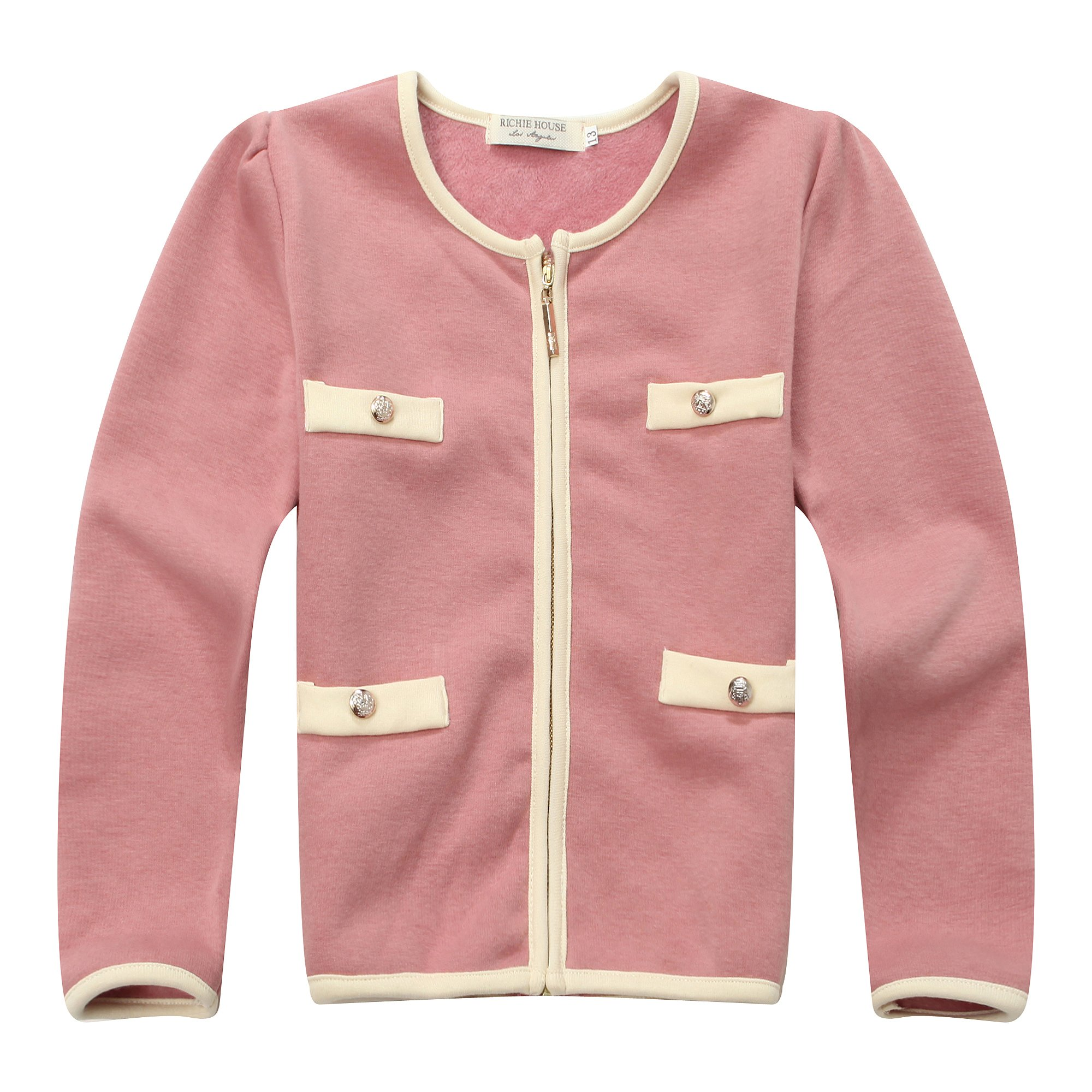 Richie House Girl's Sweet Coat with Fake Pockets RH1286-C-6/7
