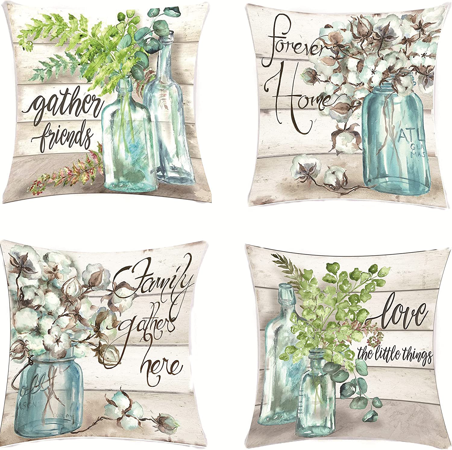 Cotton Floral Decorative Throw Pillow Covers, Fresh Floral Outdoor Cushion Cover, Farmhouse Floral Pillow Case for Sofa Couch Bedroom Home Decor