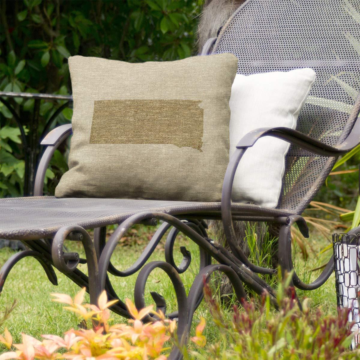 ArtVerse Katelyn Smith 18 x 18 Indoor//Outdoor UV Properties-Waterproof and Mildew Proof Washington Outline Pillow
