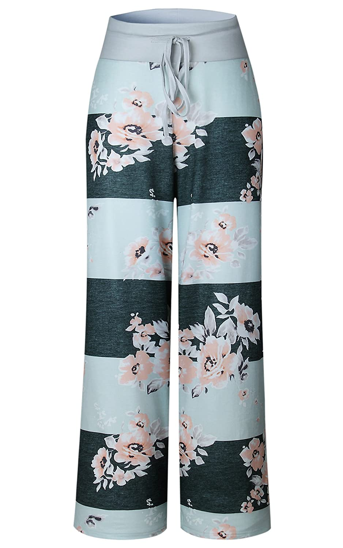 Angashion Damen Blumenmuster Weite Bein Lange Hose Grau S