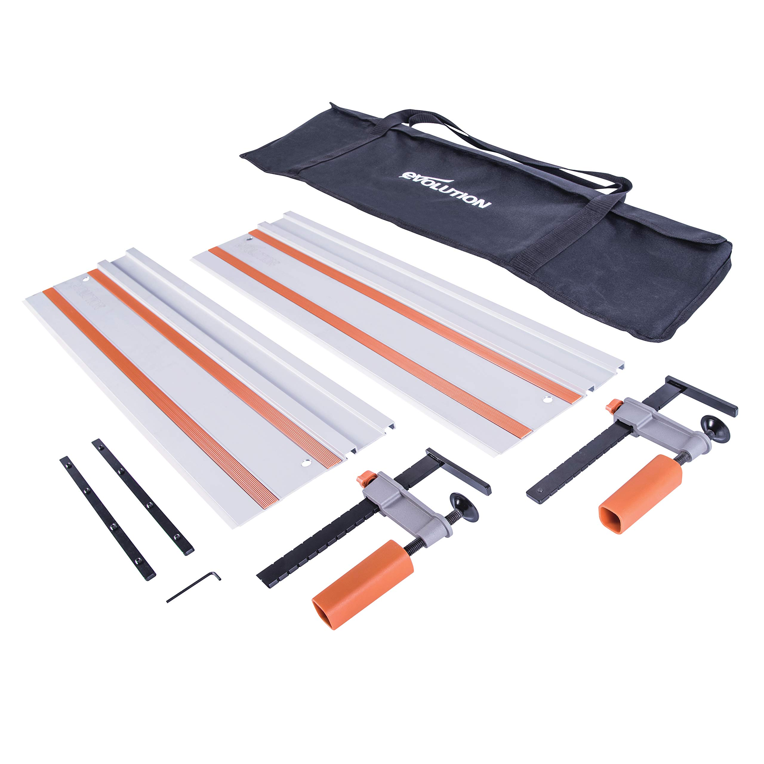 Evolution Power Tools ST1400 Track/Guide Rail For Circular Saws (Clamps and Carry Bag Included), 1400 mm by Evolution