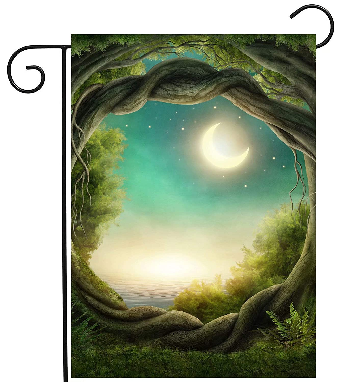 """ShineSnow Magic Tree Forest in The Moonlight Fantastic Fairy Tales Moon Garden Yard Flag 12""""x 18"""" Double Sided, Polyester Welcome House Flag Banners for Patio Lawn Outdoor Home Decor"""