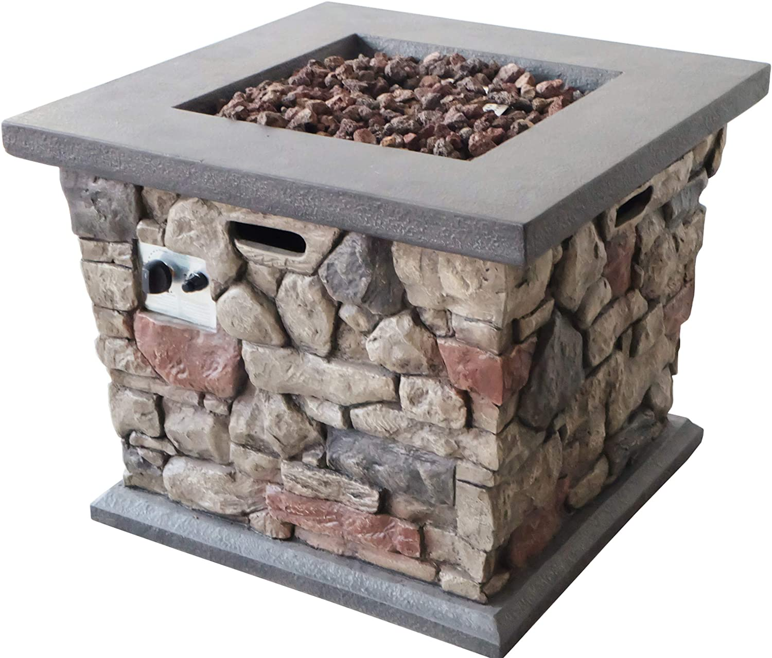 Christopher Knight Home Crawford Outdoor Stone Finished Square Fire Pit – 40,000 BTU